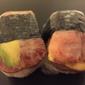 Musubi Cafe Iyasume - Honolulu, HI. Bacon avocado musubi and bacon egg musubi