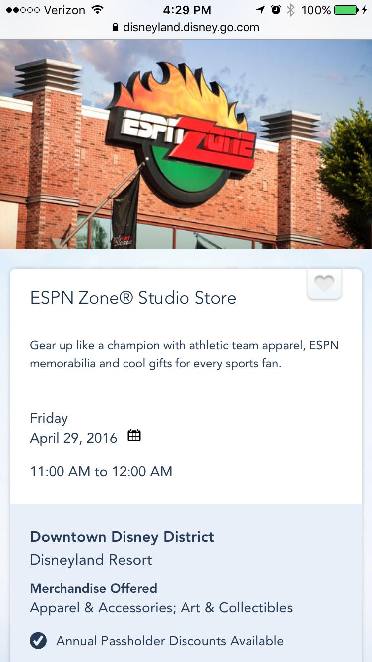 ESPN Zone, Anaheim CA