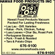 Hawaii Food Products Inc