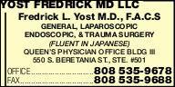 Yost Fredrick MD