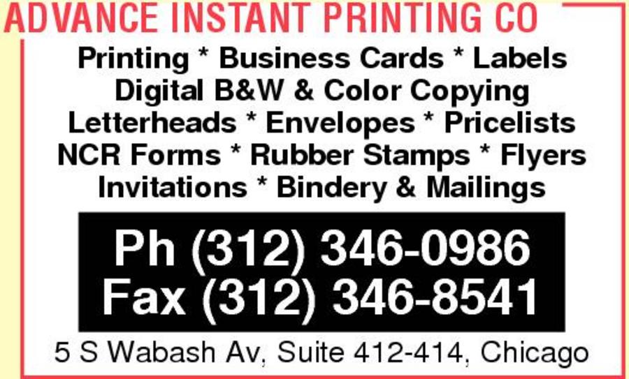 Advance Instant Printing Co
