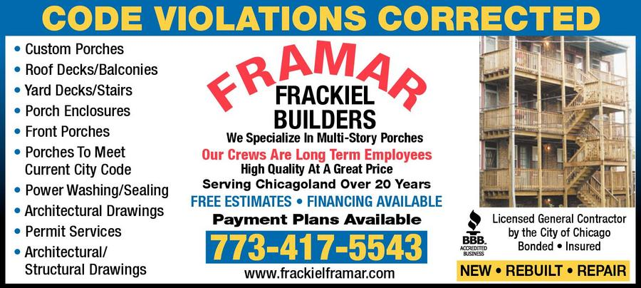 Frackiel Builders Framar Porches and Decks