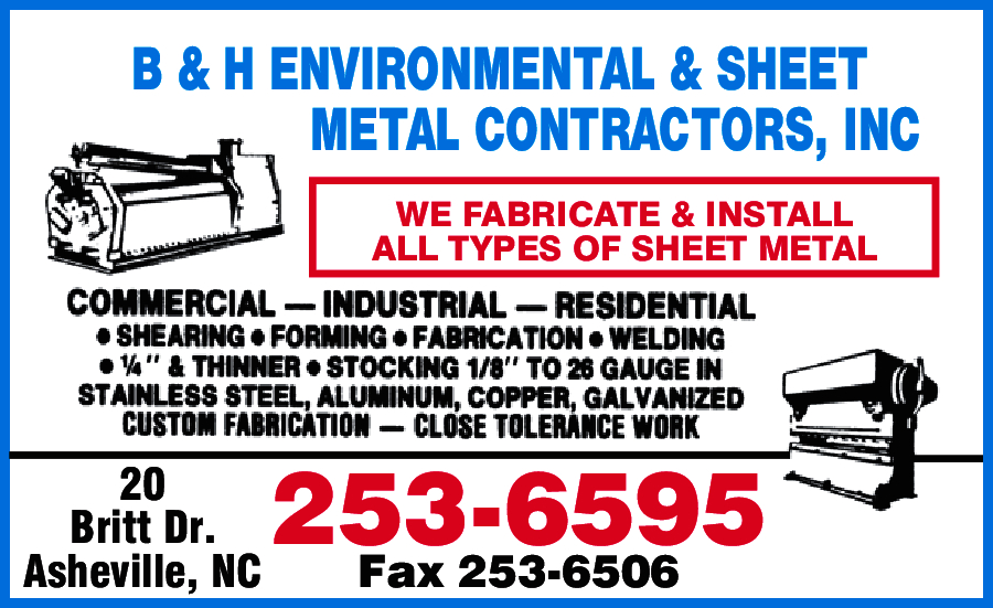 B & H Environmental & Sheet Metal Contractors Inc