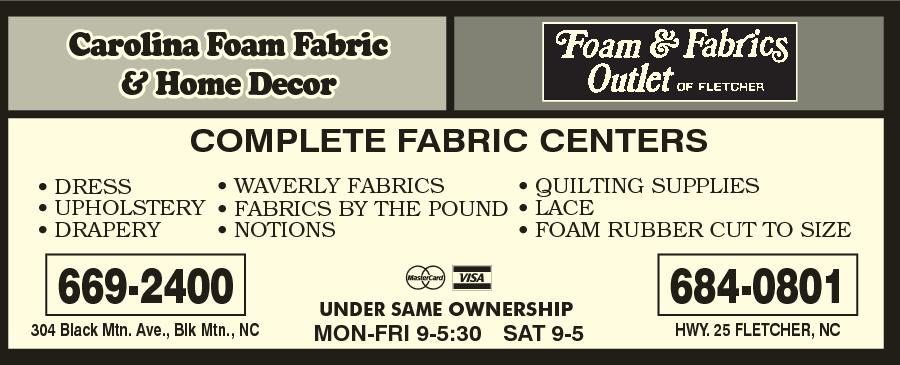 Carolina Foam Fabric & Home Decor