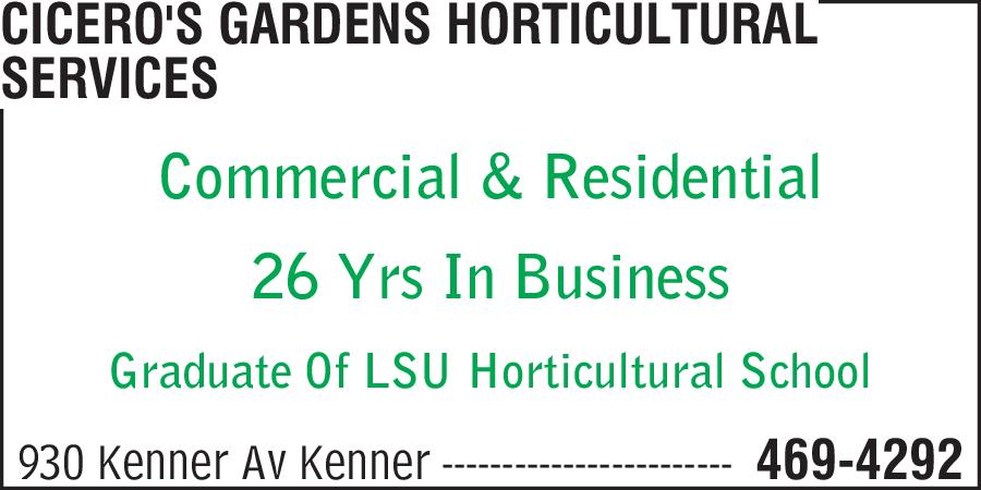Cicero's Gardens Horticultural Services