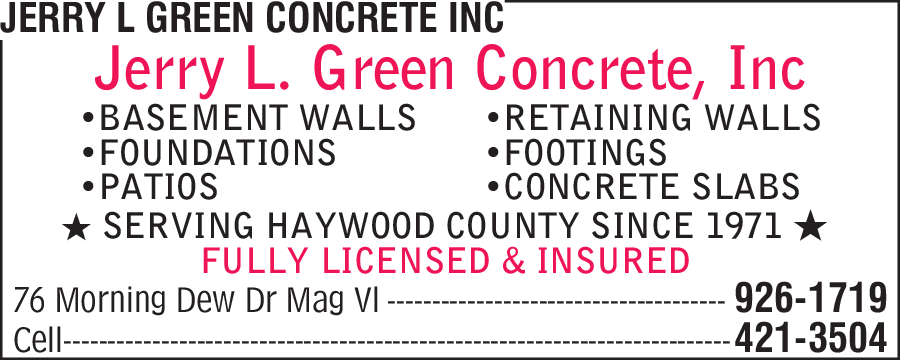 Jerry L Green Concrete Inc