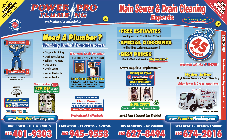 Power Pro Plumbing Trenchless Sewers & Drain Cleaning Experts
