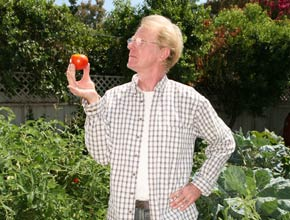 Ed Begley Jr. in his garden at home
