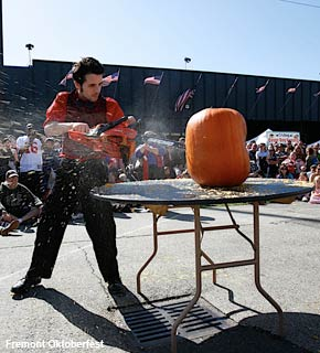 Texas Chainsaw Pumpkin Carving at Fremont Oktoberfest