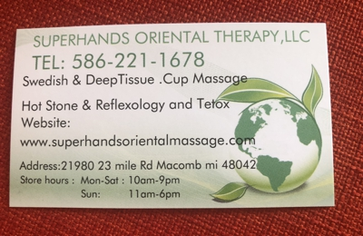Super Hands Oriental Therapy - Macomb, MI. SPECIAL  Offering Buy any one regular Massage piece and get the second one at $15 off  End 3-31-2019 Call us today to schedule appointmen