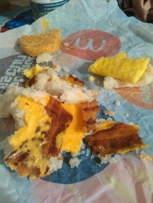 Biscuit fell apart and the bacon was over cooked.