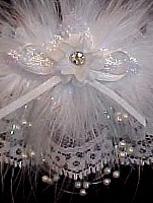 Dream-Plan-Begin / White Wedding  Garter with Rhinestone & Pearls