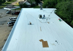 Hostetler Roofing. The grocery store at Cooper TX that Hostetler Roofing tore old roof off and installed a new roof.