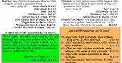 Los Baez Mexican Restaurants - Salem, OR. Dinner menu part 1