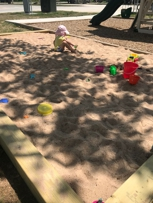 Shaded sand box for the kids.