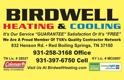 Birdwell Heating Cooling 832 Henson Rd Red Boiling Springs Tn