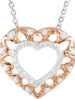 """14KT ROSE & WHITE GOLD 1/6 CT TW DIAMOND HEART 18"""" NECKLACE WITH I1/H CLARITY"""