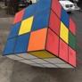Victory Powder Coating & Sandblasting  Inc. - Los Angeles, CA. Street art installation of Rubik's cube near Nintendo controllers at the corner of Broadway and 58th Street.