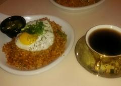 Haus - Los Angeles, CA. Kimchi fried rice and El Salvador coffee