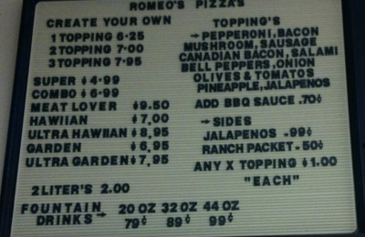 Romeo's Pizza & Subs - Sanger, CA. pizza's