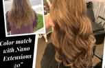 "Color match with 20"" full head nano extensions"