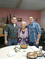 Me Fran loves to serve in the pie room every year! She had great help.
