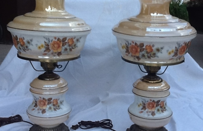 """Home to Home - Northville, MI. These are the two matching vintage lamps I asked about selling at your shop.  They are 24"""" tall vintage.  Jan Hensel (734) 721-9146"""