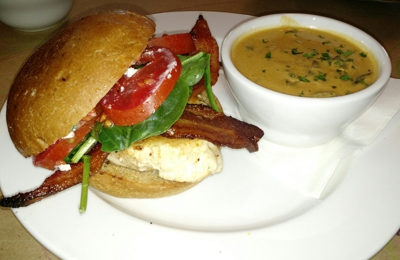 Early Girl Eatery - Asheville, NC. Grilled chicken sandwich and a soup.