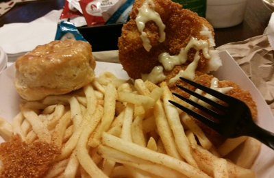Krispy Krunchy Chicken - Los Angeles, CA. Fish and fries with a biscuit. Taste good. Serving size is great.