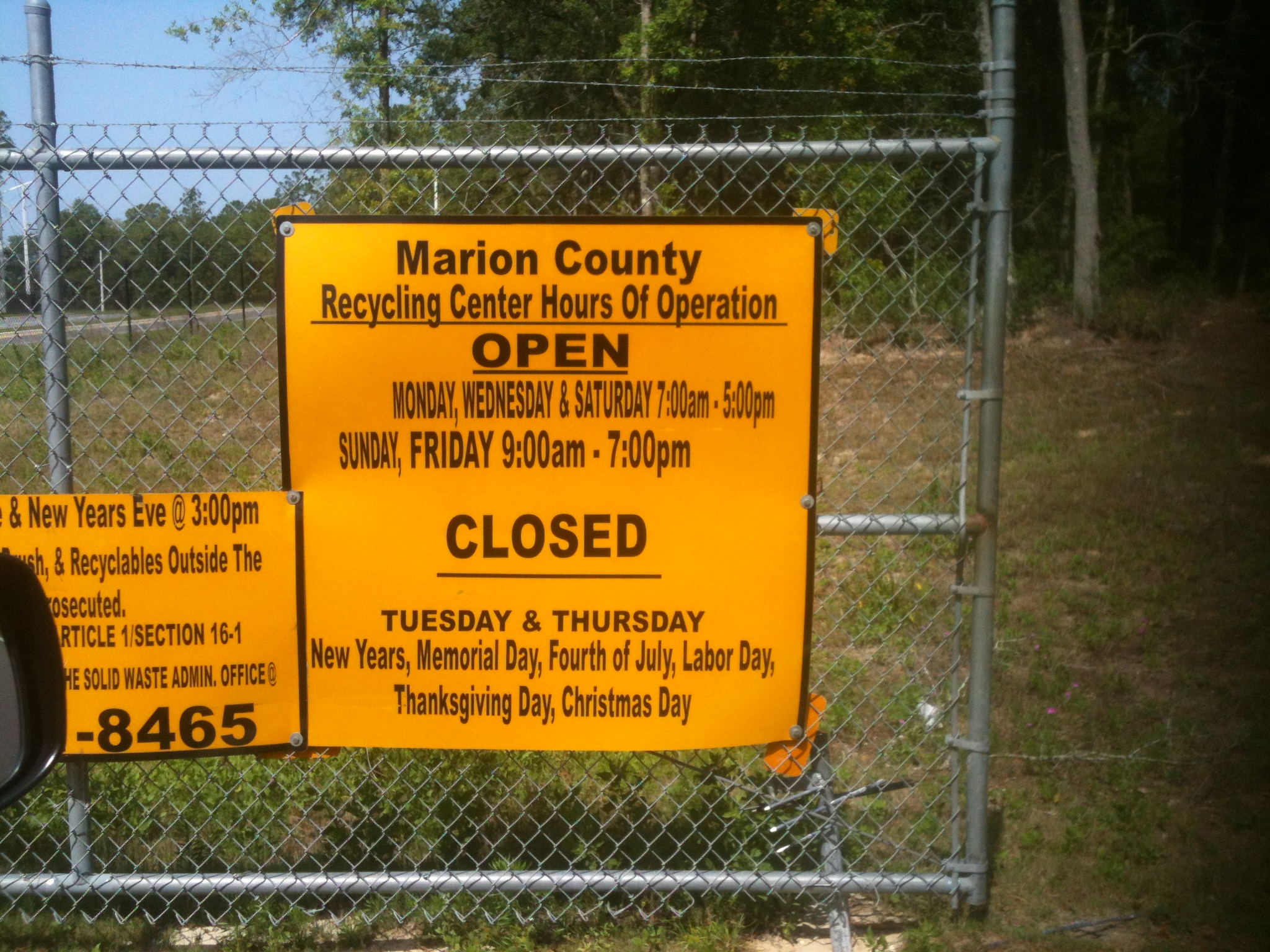 Marion County Recycling Center 6800 W Highway 40 Ocala