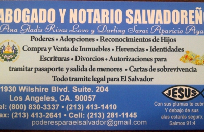 Salvadorian Attorney and Notary - Los Angeles, CA