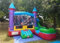 Bounce 4Fun Party Rentals. The Descendants party theme wet/dry 5 in 1 castle slide combo