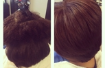 Blowout and flat iron natural hair