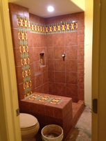 Spanish style Shower by B&W Designer Tile, Tulsa