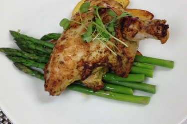 Roasted chicken and asparagus that we had for our plated dinner