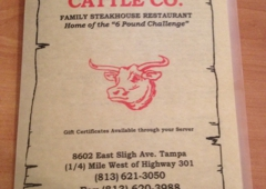 Frontier Steakhouse Cattle Co - Tampa, FL. Menu front page