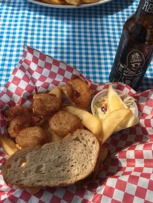 Fried Scallops & Chips.. And a Dead Guy ale from Rogue.